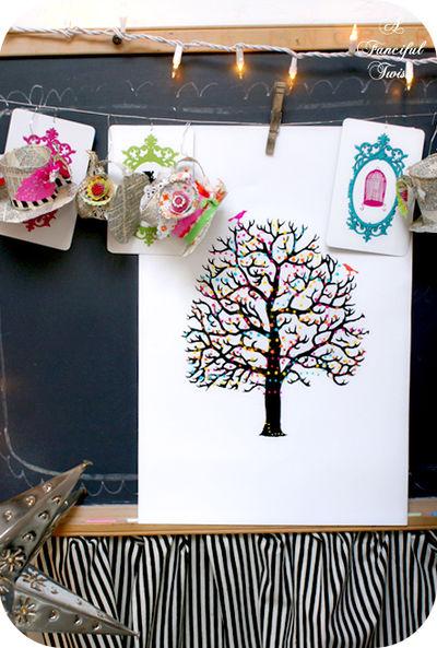 In a little felt ball tree