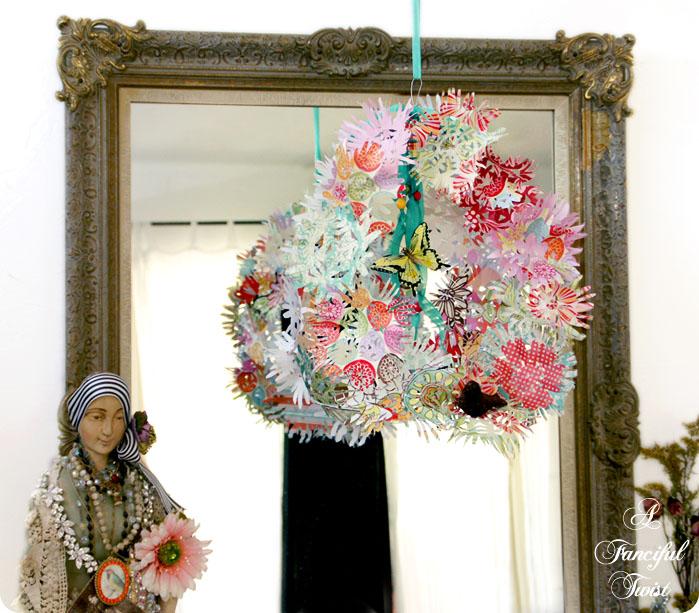 Paper flower chandelier 23