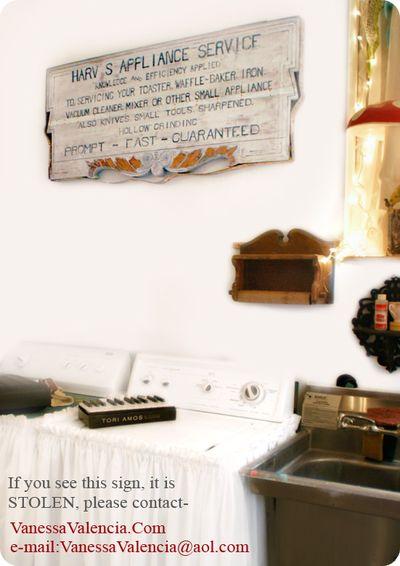 Antique Sign Harv's Appliance 1