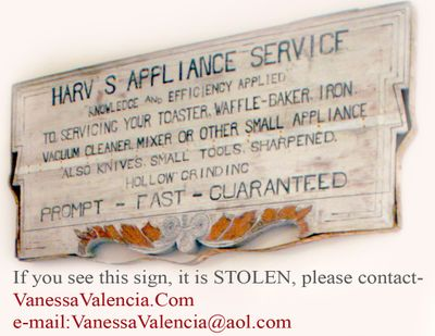 Antique Sign Harv's appliance service 3