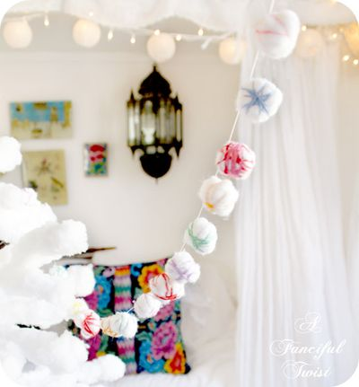 Cotton ball garland 10