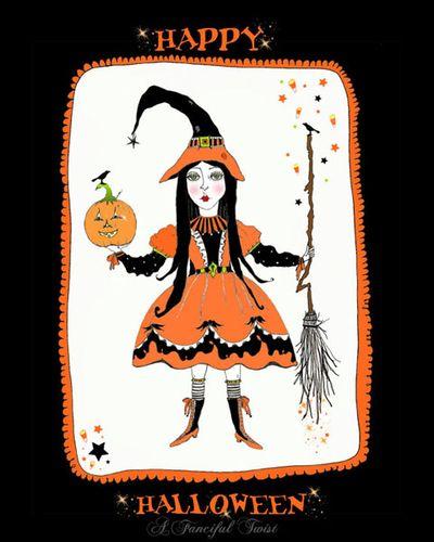 W happy halloween print