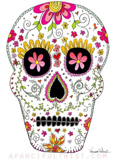 Skull Illustration Colorful Print