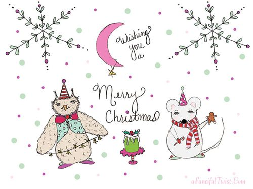 Owl and Mousie Holiday Card Front