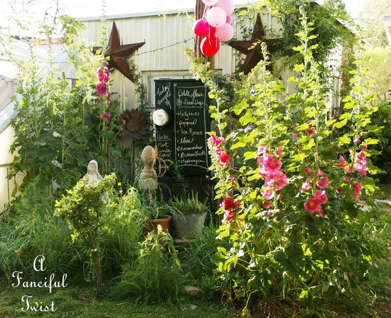 Hollyhock garden 9a