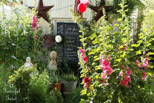 Hollyhock garden 3a
