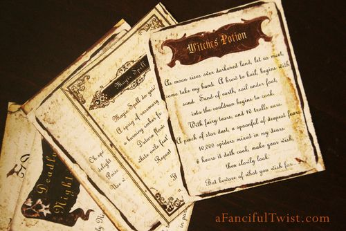 Potions and Spells label cut outs