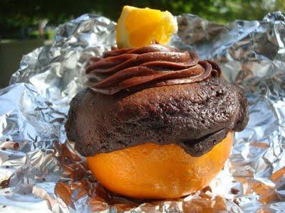 Chocolate orange cake grilled