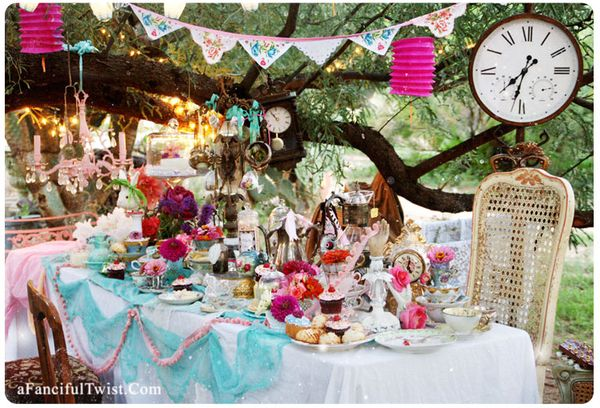 Mad tea party table card front