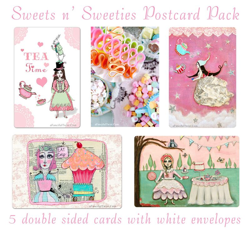 Sweets n sweeties postcard pack etsy shop