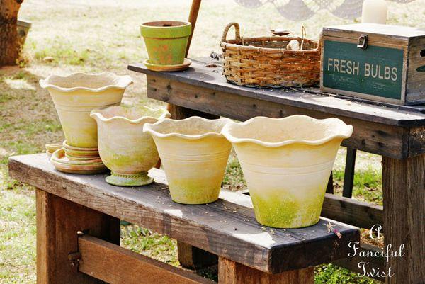 Mossy terracota pots 4