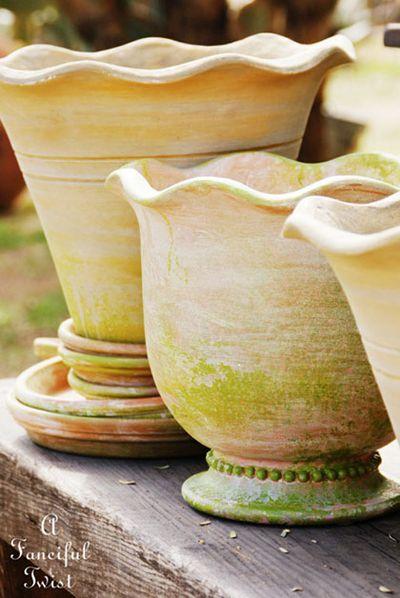 Mossy terracotta pots 1