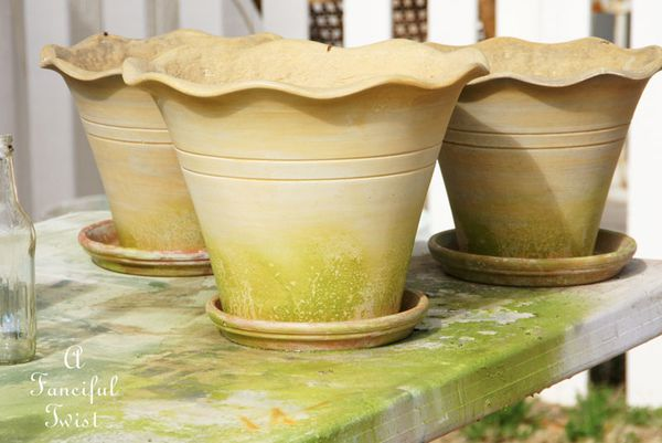 Mossy terracota pots 8