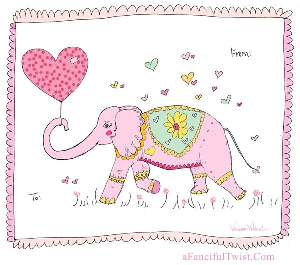 Elephant Valentine A Fanciful Twist