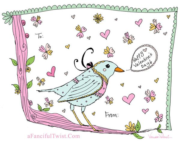 Bird Love a fanciful twist valentine