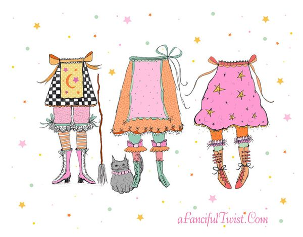 Whimsical Witches Print Etsy