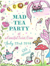 Mad tea party flyer button