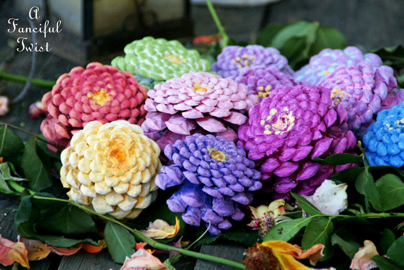 Faux Zinnia Flowers | Pine Cone Decorating Ideas For The Holidays