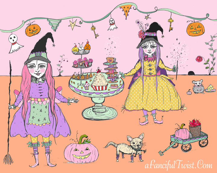 Whimsical Witches Tea Party Print Etsy