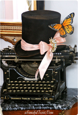 Etsy top hat typewriter front