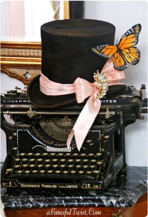Etsy top hat typewriter front