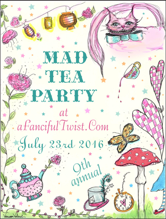 Mad tea party flyer large with border