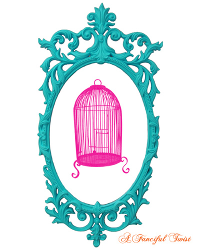 Charming Silhouettes Pink Birdcage