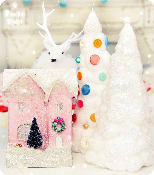 Cotton Ball Christmas Trees & Miniature Cardboard Houses